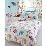 Kids Club Jumbo Elephant Design Quilt Cover Bedding Set (Twin, Full) (Twin) (Cream)