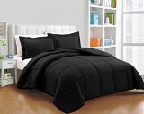 Chezmoi Collection 3-piece Down Alternative Comforter Set, Queen/Full, Black