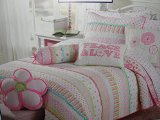 Girls pink and pastels cotton quilt set (Twin)