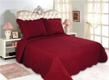 All for You 3pc Reversible Quilt Set, Bedspread, and Coverlet-burgundy color (BURGUNDY, Larger king)