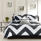 4 Piece Plush Reversible Zig Zag Chevron Print Comforter Set, Teal / Grey, Black, Grey – Queen , King Size (Queen, Black / Grey)