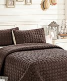 C.CTN 3pc Reversible Quilt Set,Queen Size,Brown/Beige