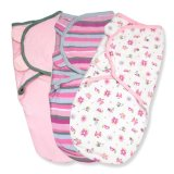 Summer Infant Swaddleme 3 Piece Adjustable Infant Wrap, 7-14 Lbs, Small-Medium, Girly Bug,