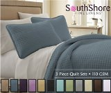 Southshore Fine Linens® 3 Piece Oversized Quilt Sets (Queen, Steel Blue)