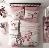 100% Turkish Cotton 4 Pcs ! Paris Eiffel Tower Theme Themed Pink Butterfly Full Double Queen Size Quilt Duvet Cover Set Bedding 4pcs!! Made in Turkey