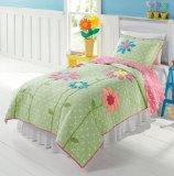 Green, White & Pink Polka Dots & Flowers 3 Pc Full Quilt & Shams Set