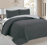 Ellington Home Greek 3 Piece Embroidered Reversible Quilt Set (Full/Queen, Grey/Silver)