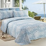 C.CTN 3pc Reversible&Printed Bedspread/Coverlet Set/Quilt Set,Queen Size,Light Blue