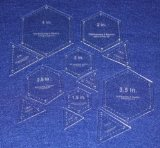 12 Piece Quilt Templates Equilateral Triangles & Hexagon Set 1/8″