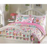 Girls reversible flower and polka dot quilt set (Twin)