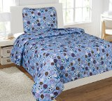 Awad Home Fashion 2 Piece Sky Blue Quilt Bedspread Set Multicolor MVP Sports, Twin QS-08