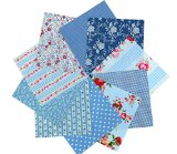 Notions Potions Quilting Fabric 40 Charm pack 5×5″ (12.7 cm.) Fabric Squares Blue Gingham Floral Rose Polka dot