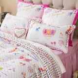 Brandream Kids Comforter Set White and Pink Girls Quilt Set Twin,Full