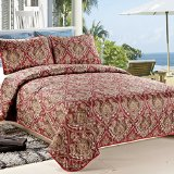 C.CTN 3-piece Quilt Set Print Programs Coverlet Set,Queen Size, Color 6,Red Floral